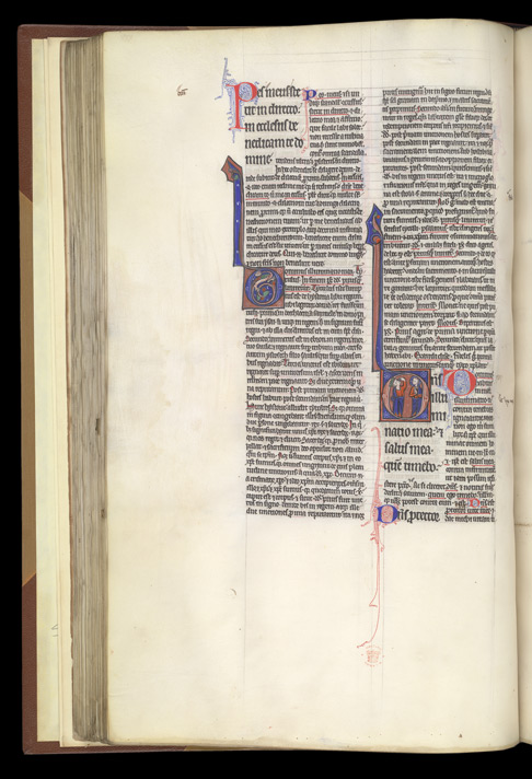 Historiated initial To Psalm 26 With King David Pointing At His Eye, In Peter Lombard, Commentary On The Psalms